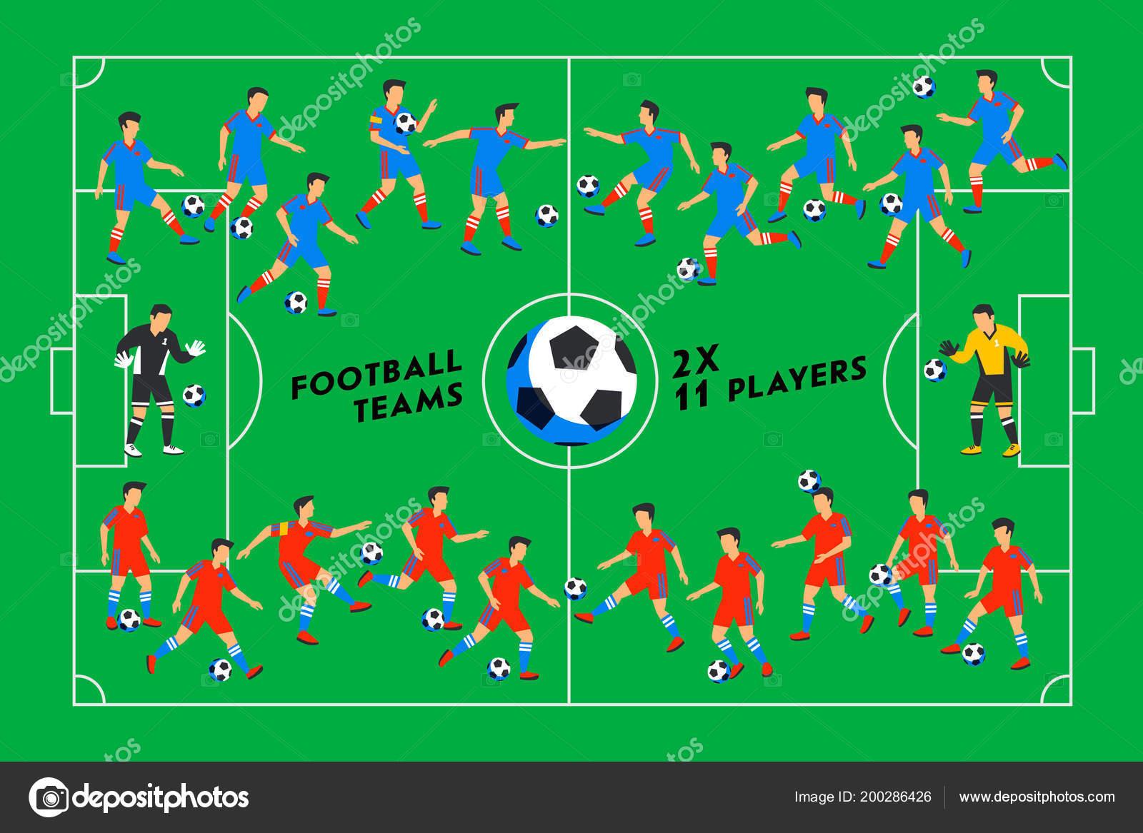 Fußball Spieler Auf Der Grünen Wiese Fußball Spieler Auf