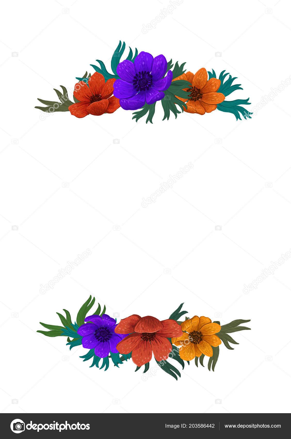 Wild Flowers Border Template Color Pencil Digital
