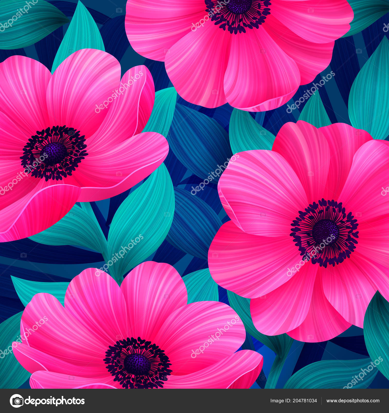 Vector Tropical Pattern With Waterlily Lotus Flower Amazing Floral