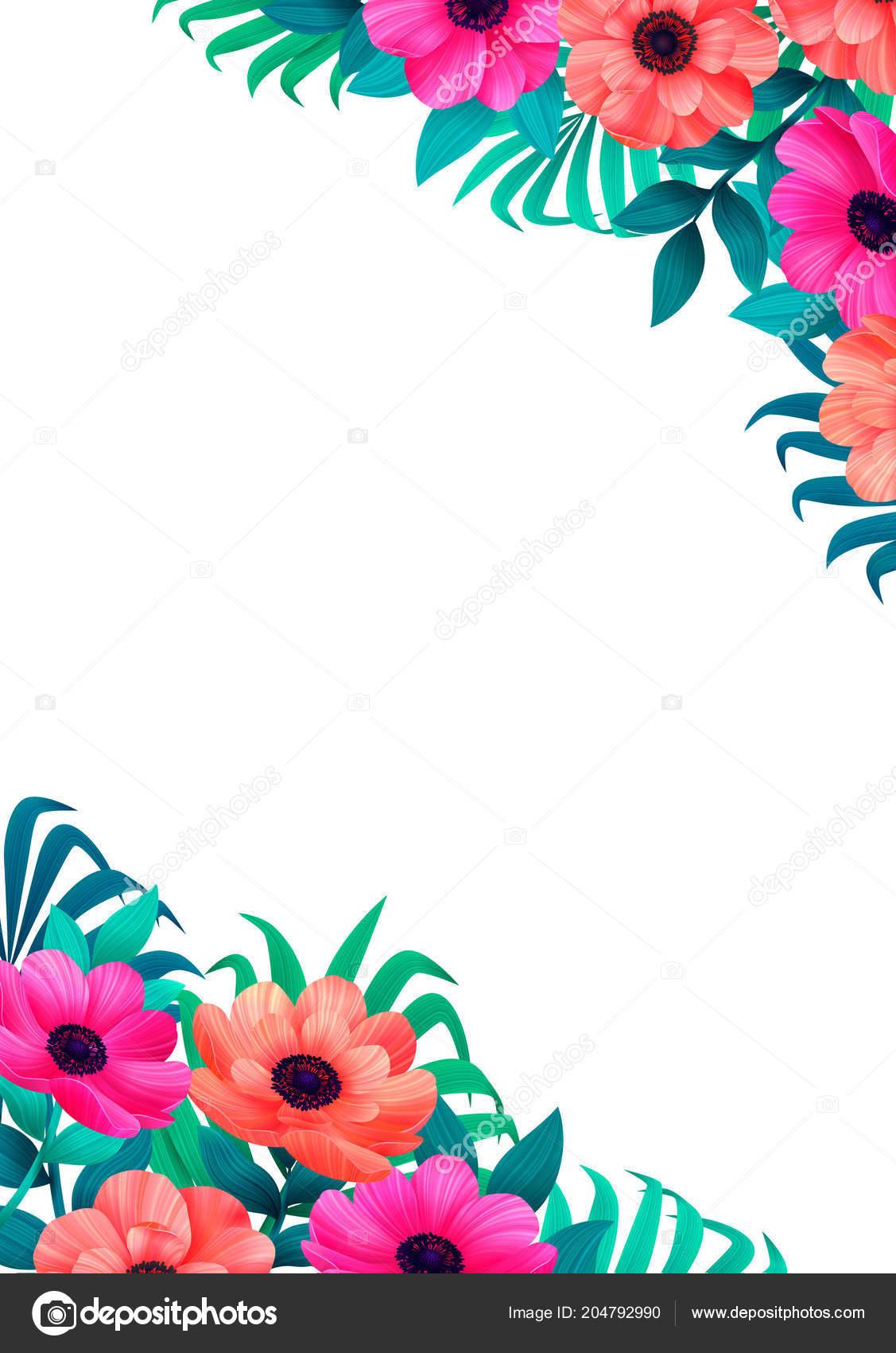 Floral Frame Corner Design Beautiful Wild Garden Color