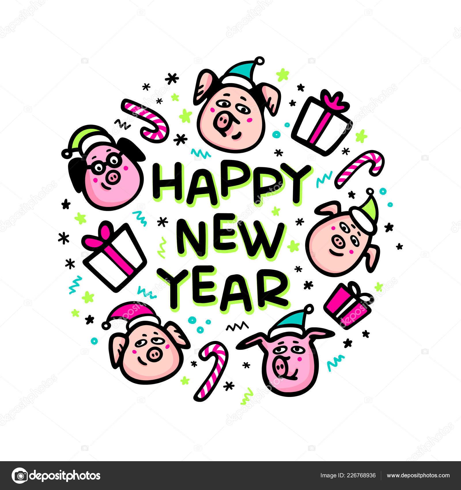 906e7a742150 Carte de voeux bonne année cochon. Porc drôle avec des chapeaux cadeaux et  santa. Symbole de 2019 de nouvel an chinois. Doodle caractères de style  pour ...