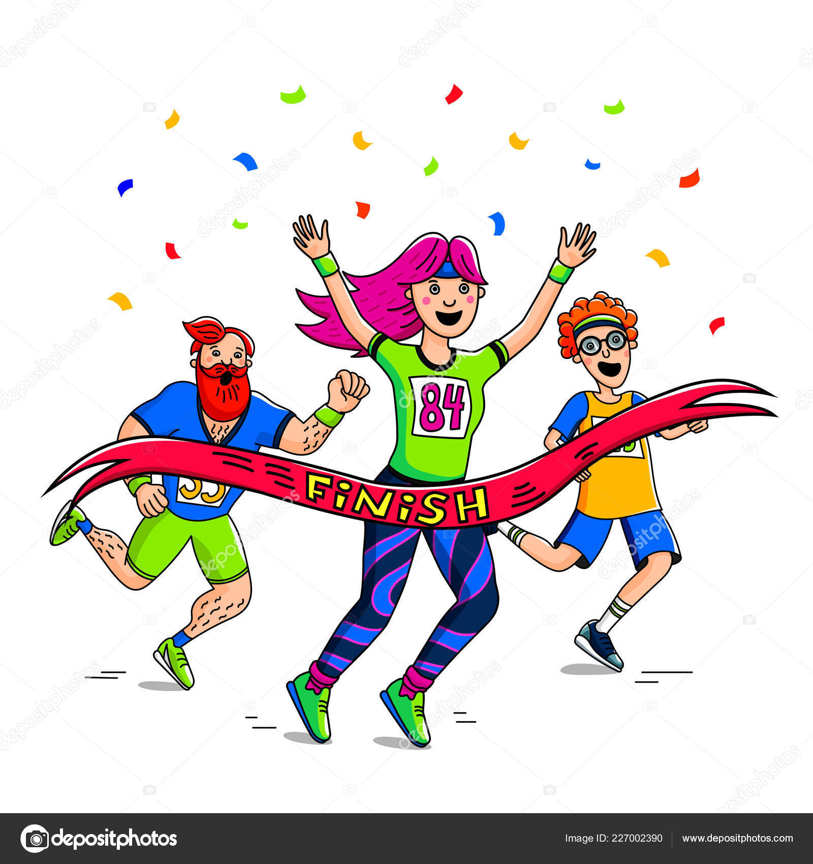 Marathon Race Woman Man Teenager Crossing Finish Line Cartoon