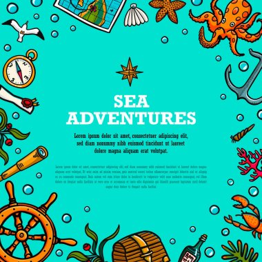 Sea adventures template. Marine hand drawn vector objects. Doodle style vector illustration