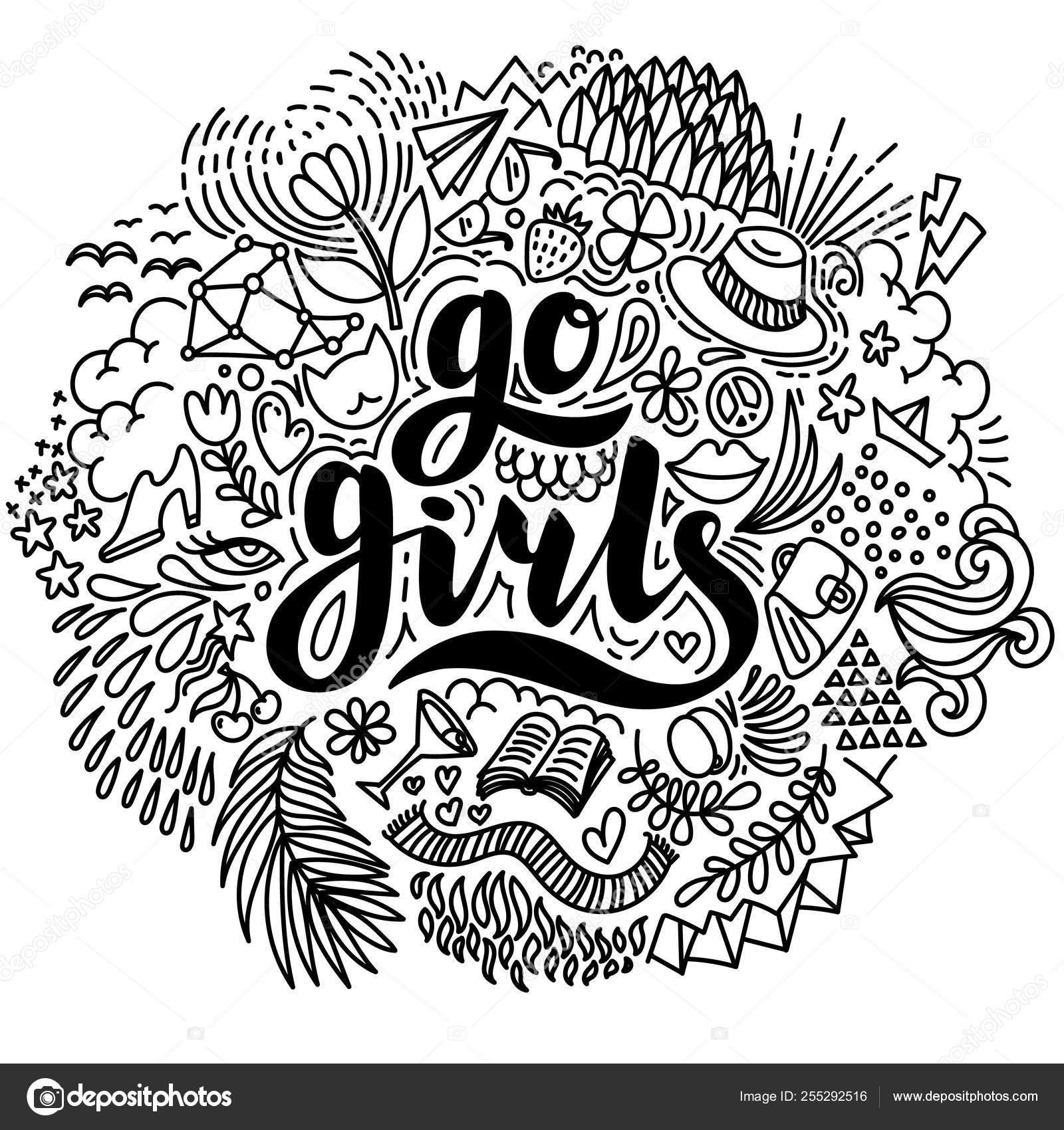 Vayan Chicas Letras Dibujadas A Mano Y Elementos Veraniegos