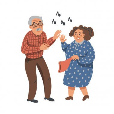 Elderly dancing couple. Old man and woman have fun on a party. Nursing home. Senior people flat Vector illustration.