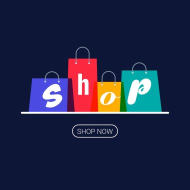 Shopping bags with shop inscription. Online shopping logo. Buy now button. Vector illustration on dark background. icon