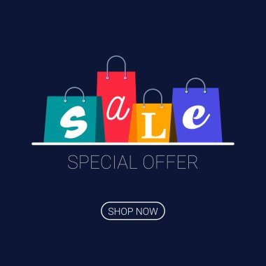 Shopping bags with sale inscription. Online shopping logo. Buy now button. Vector illustration on dark background. icon