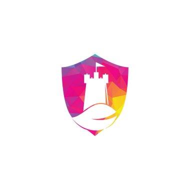 Castle and leaf shield shape concept logo design. Tower and eco symbol or icon. Nature Castle logo designs concept vector