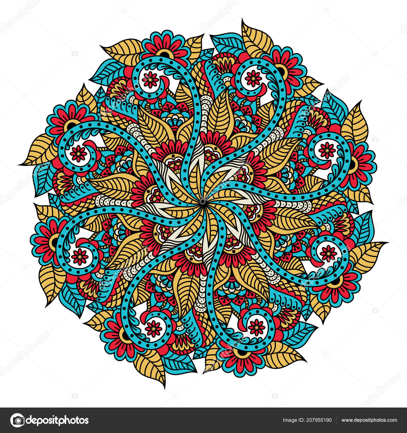 Mandala Element Decoration Ethnique Toile Fond Dessine Main Boho
