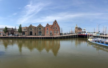 Panorama from the Zuiderhaven in Harlingen, Friesland The Netherlands
