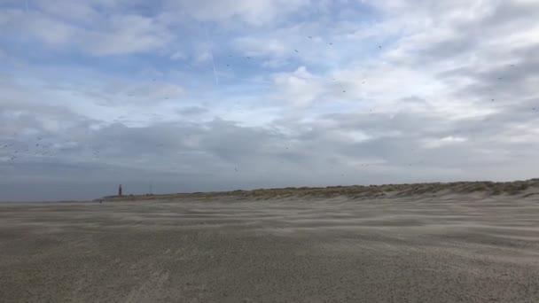 Lidé kráčející v chladném zimním dni k majáku na pláži Texel