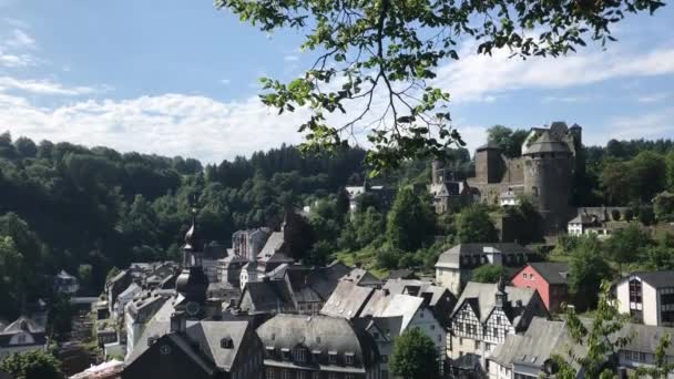 Tilt down from the town Monschau, Germany