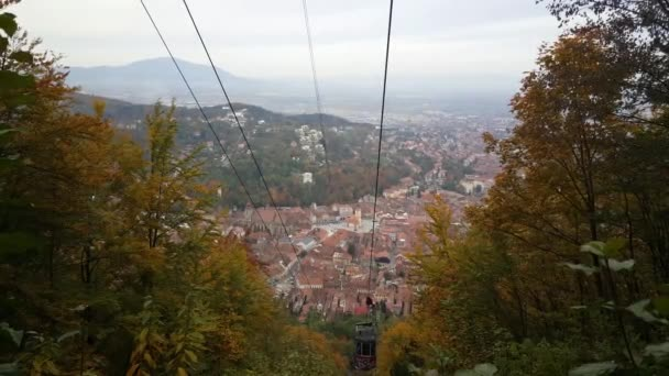 Cable car going up mount tampa in Brasov Romania