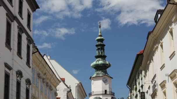 Časová prodleva Michaelovy věže v Bratislavě na Slovensku