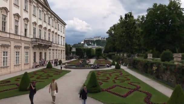 Time lapse from tourism around the Mirabell Palace in the Mirabellgarten Salzburg, Austria