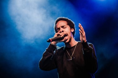 Earl Sweatshirt performing on stage during music festival