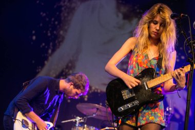 Wolf Alice performing on stage during music festival