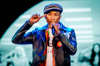 Pharrell Williams performing on stage during  music festival