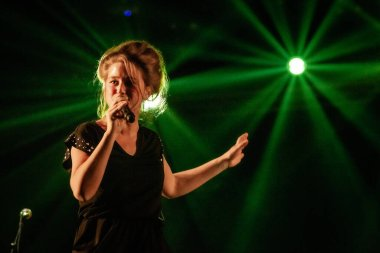 Selah Sue performing on stage during  music festival
