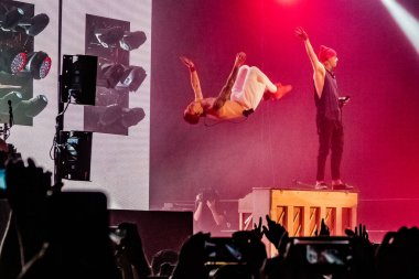 Twenty One Pilots performing on stage during  music festival