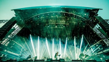 Radiohead performing on stage during  music festival