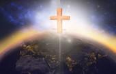 Fotografie Kreuz, erscheinen auf dem Planetenerde bei Sonnenaufgang
