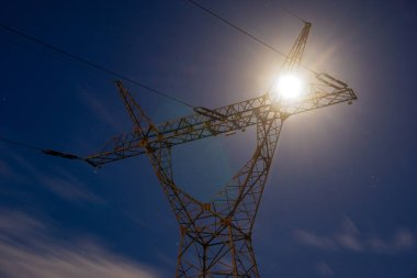 high-voltage power lines at sunset, electricity distribution station