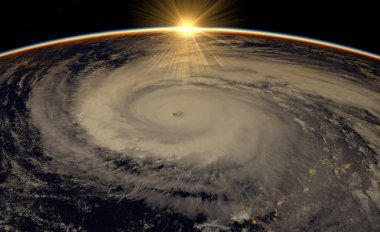 Hurricane visible above the earth, satellite view. Elements of t