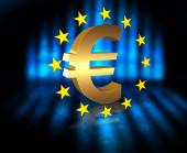 Vlajka Evropské unie s zlatý symbol měny Euro, 3d vykreslení