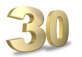 Fotografia progettazione di numeri doro 30 su priorità bassa bianca