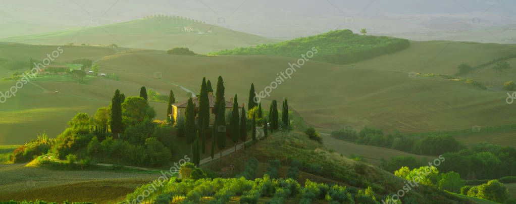 SAN QUIRICO D´ORCIA,TUSCANY,ITALY-APRIL16,2016:Beautiful lands