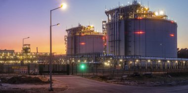 liquefied gas tanks in the LNG terminal in Swinoujscie in Poland