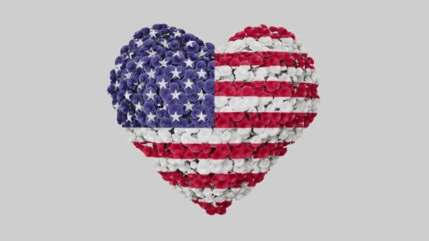 Independence day USA, 4th July. Independence Day. Heart animation with alpha matte. Flowers forming heart shape. 3D rendering.