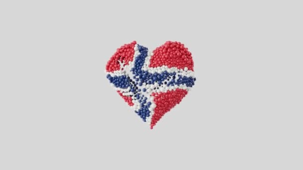 Norway National Day. 17 May. Heart animation with alpha matte. Heart shape made out of shiny spheres animation. 3D rendering.