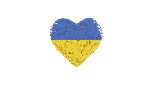 Independence day Ukraine. August 24. Heart animation with alpha matte. Flowers forming heart shape. 3D rendering.
