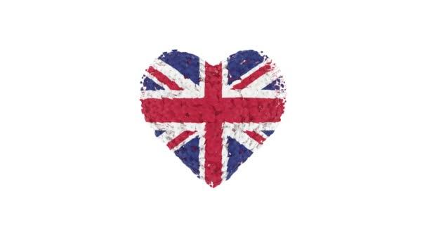 Spojené království. Národní den. Srdeční animace s alfa matnou. Květiny vytvářejí tvar srdce. 3D vykreslování.