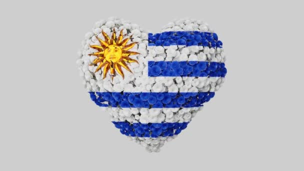 Uruguay National Day. August 25. Independence Day. Heart animation with alpha matte. Flowers forming heart shape. 3D rendering.