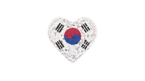 South Korea. National Day. August 15. Heart animation with alpha matte. Flowers forming heart shape. 3D rendering.