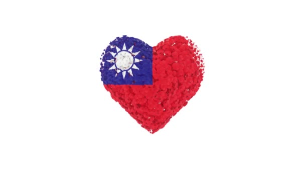 Taiwan. National Day. 10 October. Heart animation with alpha matte. Flowers forming heart shape. 3D rendering.