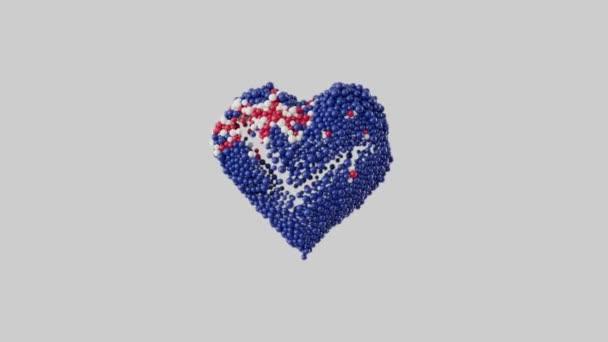Waitangi Day. Národní den Nového Zélandu. 6. února. Srdeční animace s alfa matnou. Tvar srdce z nablýskaných koulí. 3D vykreslování.