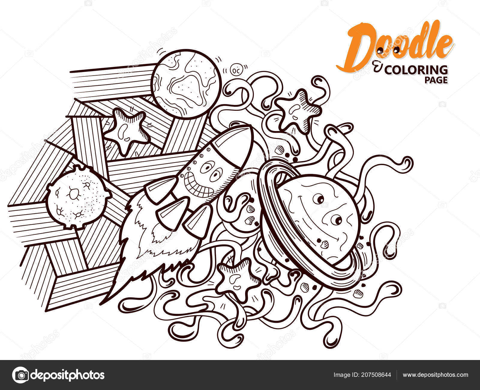 Coloring Book Doodle Funny Cosmos — Stock Vector © your-solution ...