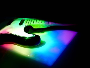 electric guitar closeup in the stag light