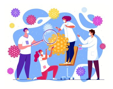 A chemical research laboratory, biochemists and professors are developing antiviral drugs. Researchers are working on a new generation of vaccines. stock vector
