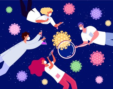 A young scientist has found a vaccine against coronavirus. Science lab. We got the formula! stock vector