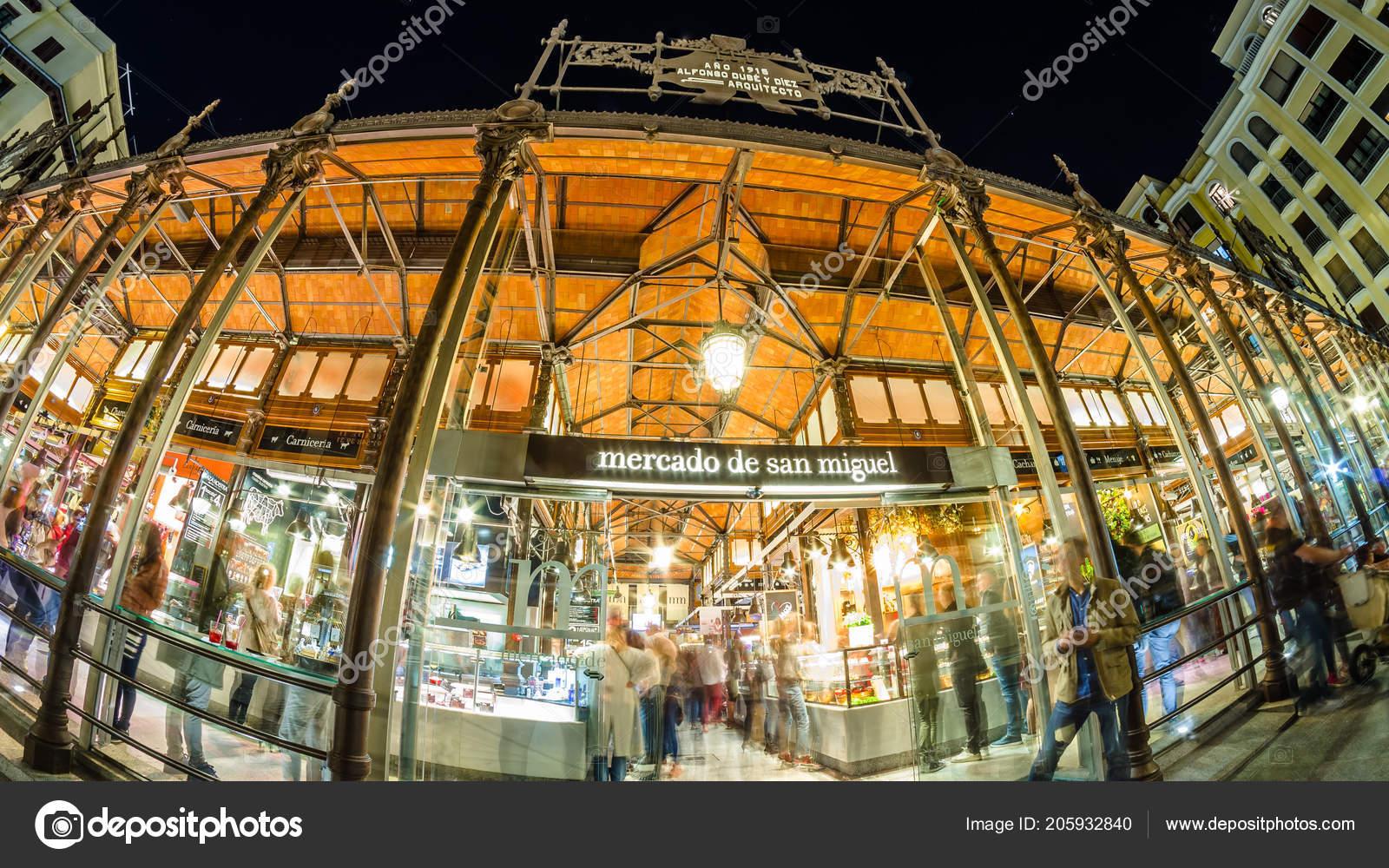 514bf89e758 Madrid Spain October 2017 Night View Mercado San Miguel Market ...