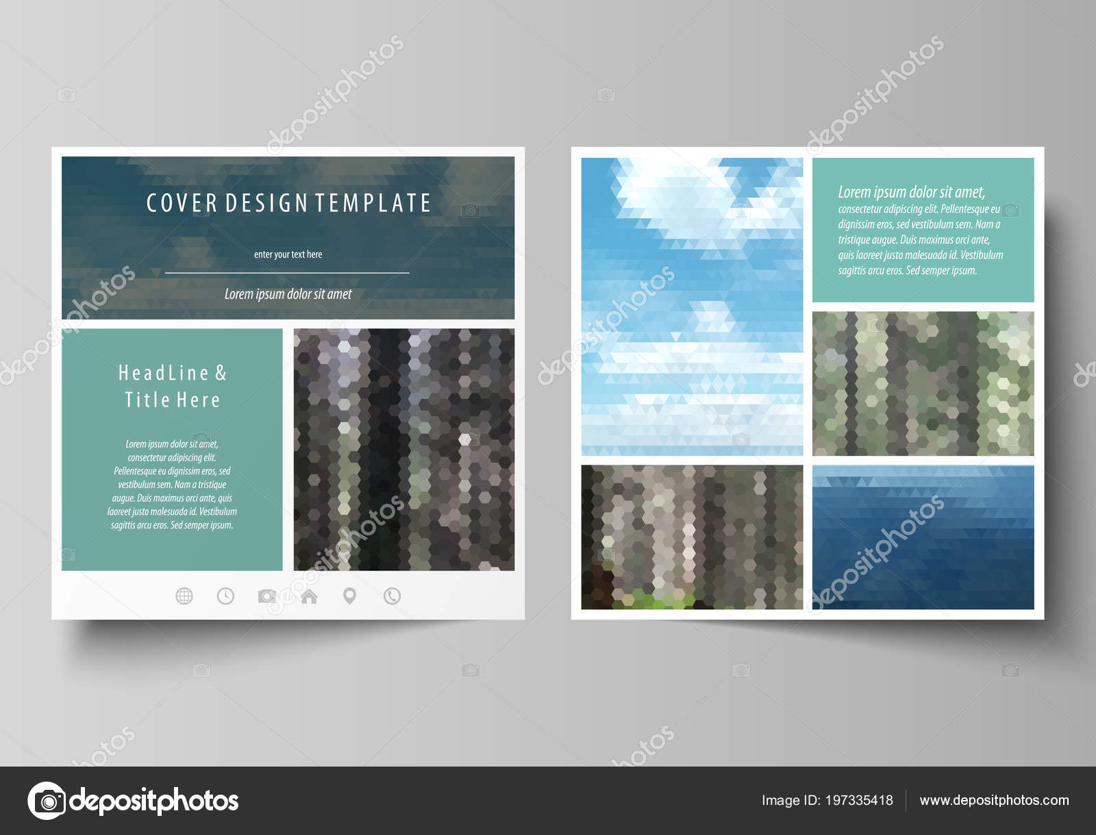 Templates for square design brochure, magazine, flyer, booklet or ...