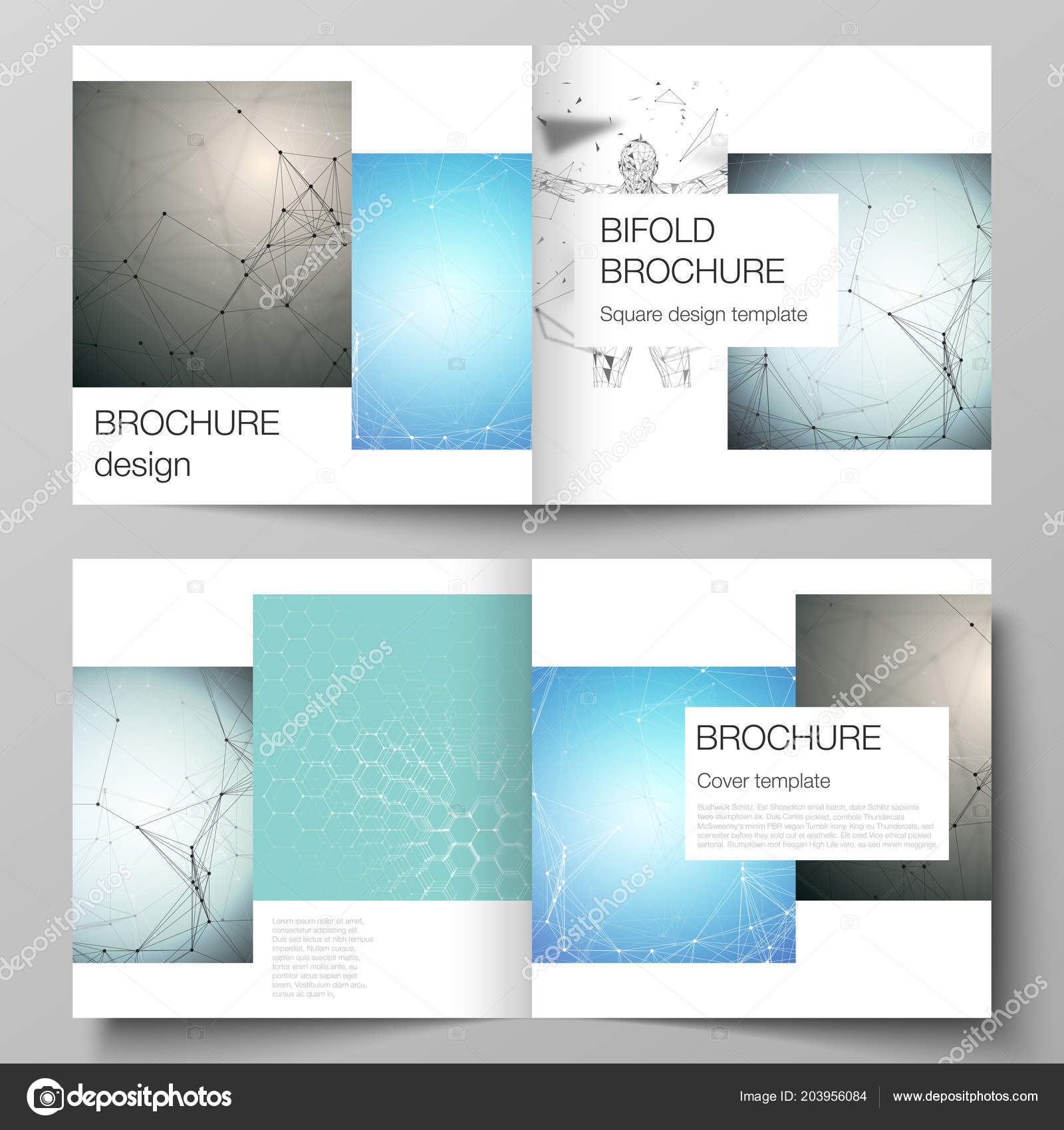 Vector Layout Of Two Covers Templates For Square Design Bifold