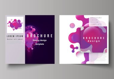 The minimal vector layout of two square format covers design templates for brochure, flyer, magazine. Black background with fluid gradient, liquid pink colored geometric element.
