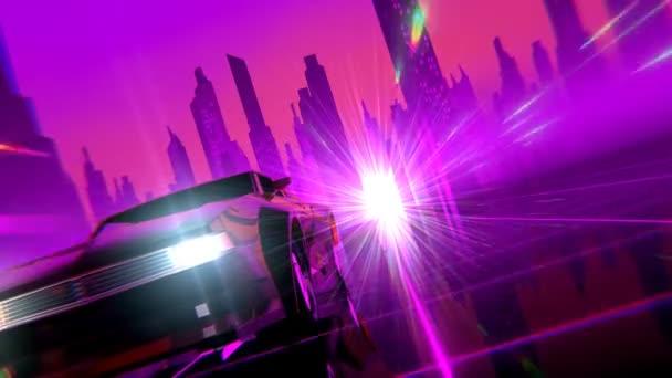 Retro futuristický 80s styl sci-Fi auto pozadí. Bezešvá smyčka 3d video animace