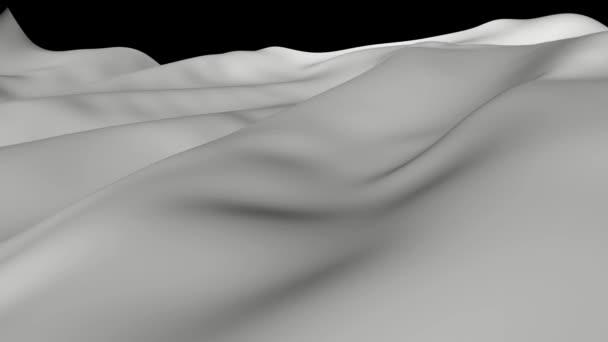 Bílý ubrus letící vzduchem. Abstraktní 3d pohybu textury.
